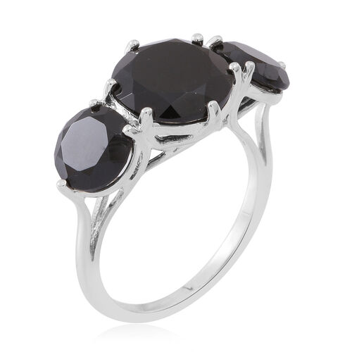 Boi Ploi Black Spinel (Rnd 5.50 Ct) 3 Stone Ring in Sterling Silver 7.750 Ct. Silver wt. 3.50 Gms.