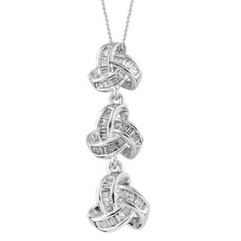 Diamond (Bgt) Triple Knot Pendant With Chain (Size 18) in  Platinum Overlay Sterling Silver 0.335 Ct