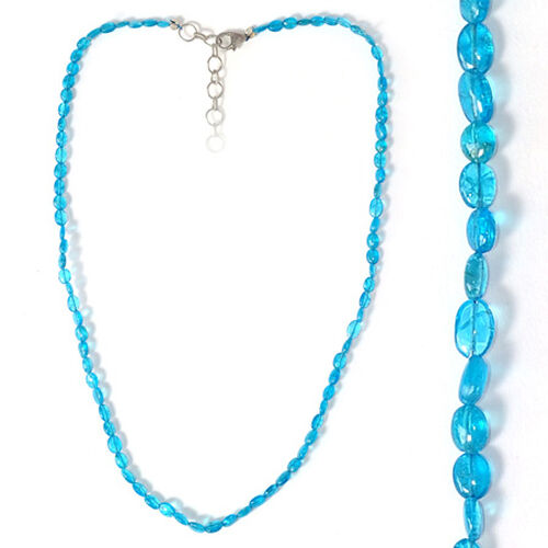 Malgache Neon Apatite Necklace (Size 16 with Extender) in Sterling Silver 39.200 Ct.