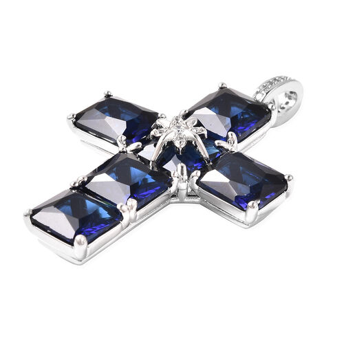 2 Piece Set - Simulated Blue and White Diamond Ring and Cross Pendant with Chain (Size 20 with 3 inch Ext.) in Silver Tone