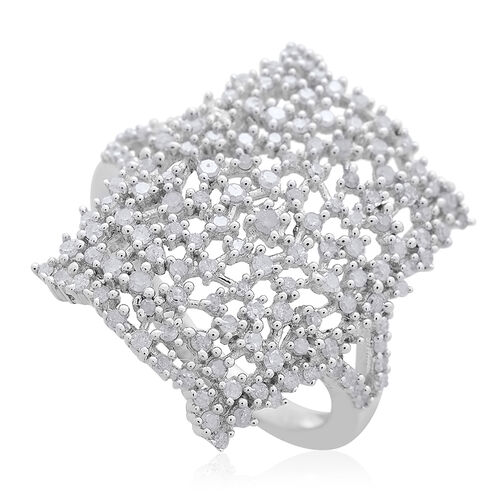 Limited Edition- Designer Inspired- Fire Cracker Diamond (Rnd) Ring in Platinum Overlay Sterling Silver 0.750 Ct.
