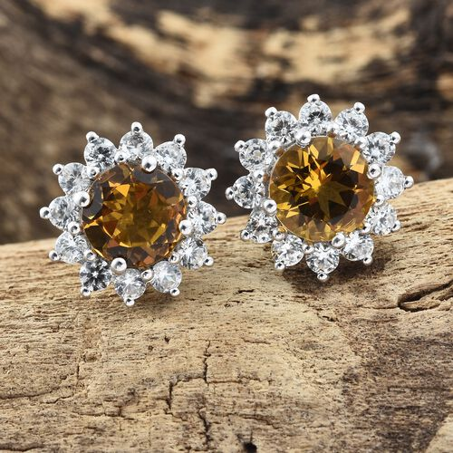 Collectors Edition- Heliodor (Rnd), Natural Cambodian Zircon Stud Earrings (with Push Back) in Platinum Overlay Sterling Silver 5.250 Ct.