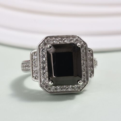 Elite Shungite (2.75 Ct), Natural Cambodian Zircon Ring in Platinum Overlay Sterling Silver 3.25 Ct, Silver wt 5.04 Gms