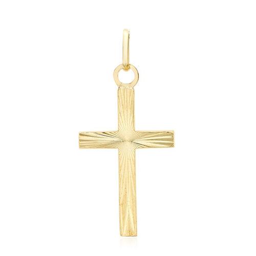 9K Yellow Gold Diamond Cut Cross Pendant