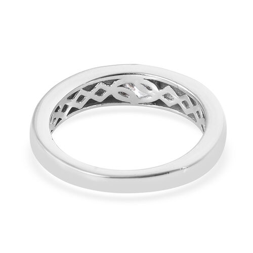 J Francis Platinum Overlay Sterling Silver (Rnd) Band Ring Made with SWAROVSKI ZIRCONIA