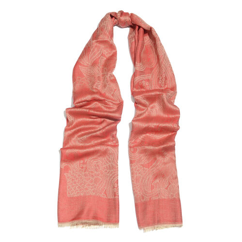 Red and Silver Colour Flower and Leaves Pattern Jacquard Scarf (Size 190x70 Cm)