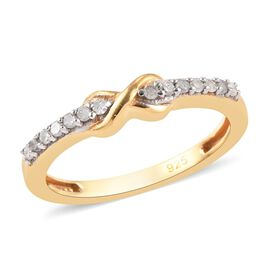 Diamond (Rnd) Infinity Promise Ring in 14K Gold Overlay Sterling Silver 0.150  Ct.
