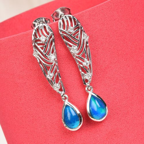 Miami Blue Welo Opal and Natural Cambodian Zircon Earrings in Platinum Overlay Sterling Silver 1.25 Ct.