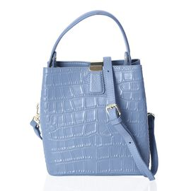 Hongkong Close Out-100% Genuine Leather Light Blue Colour Croc Embossed Satchel Bag with Removable S