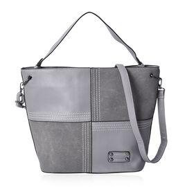Grey Colour Tote Bag with Detachable Shoulder Strap and External Zipper Pocket (Size 39x30x14.5 Cm)