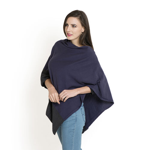 100% Cotton Purple and Grey Colour Jacquard Poncho (One Size Fits All)
