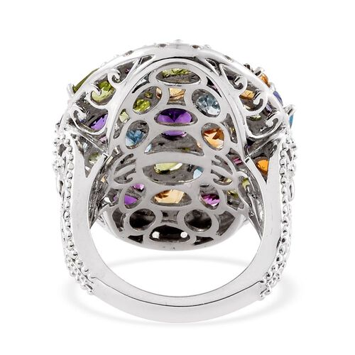 GP Amethyst (Ovl), Electric Swiss Blue Topaz, Hebei Peridot, Citrine and Multi Gem Stone Cluster Ring in Platinum Overlay Sterling Silver 9.245 Ct.