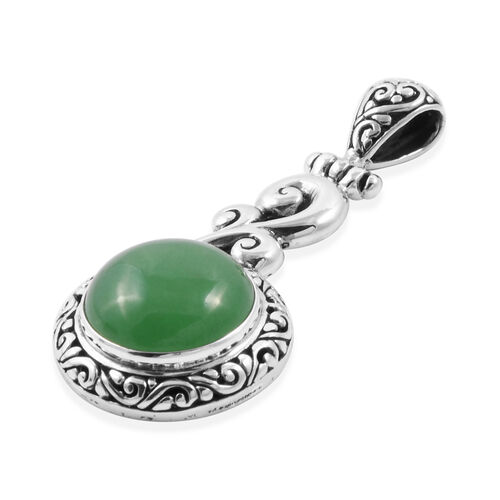 Royal Bali Collection - Green Jade (Rnd) Filigree Pendant in Sterling Silver 12.000 Ct
