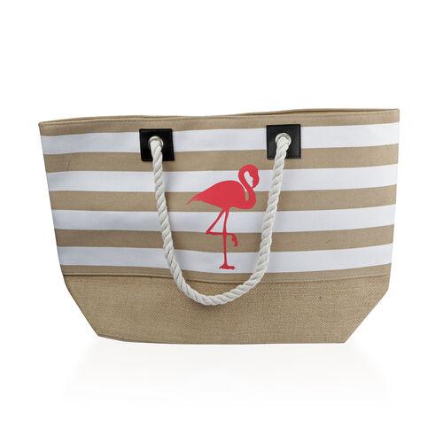 Environment Friendly Flamingo Pattern Large Shopper (Size 53x35x16 Cm)