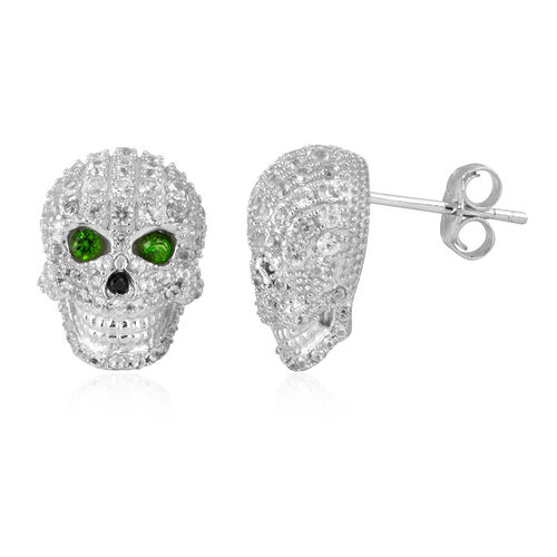 Halloween Collection- Russian Diopside (Rnd), Boi Ploi Black Spinel and Natural White Cambodian Zircon Skull Earrings (With Push Back) in Rhodium Overlay Sterling Silver 2.140 Ct.