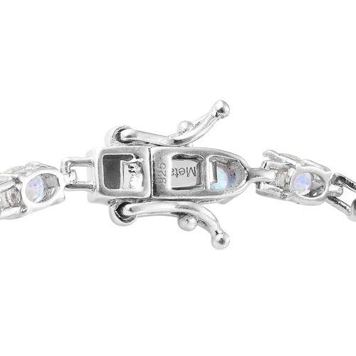 Mercury Mystic Topaz (Ovl) Bracelet (Size 7) in Platinum Overlay Sterling Silver 9.500 Ct. Silver wt 6.76 Gms.