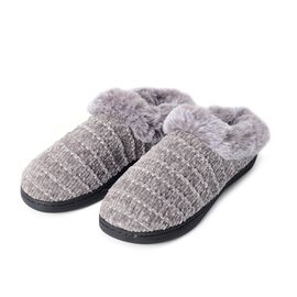 Chenille Knitted Faux Fur Slipper with Waterproof Sole (Size M)