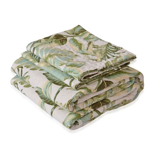 King Size Green and White Colour Leaves Reversible SUMMER Quilt (Size 260X240 Cm) and 2 Pillow Shams (Size 70X50 Cm)