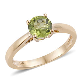 9K Yellow Gold AA Hebei Peridot (Rnd 6 mm) Solitaire Ring 0.900 Ct.