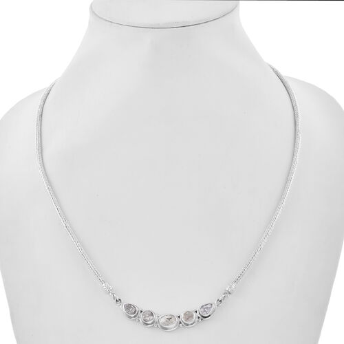 Royal Bali Collection - Polki Diamond Tulang Naga Necklace (Size 20) in Sterling Silver 2.00 Ct, Silver wt. 23.20 Gms