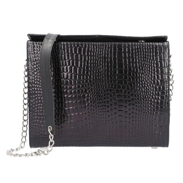 Close Out Deal- 100% Genuine Leather Croc Pattern Bag (Size 28x21x4.5cm) - Black