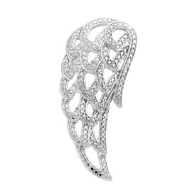 Designer Inspired- Diamond (Rnd) Feather Pendant in Platinum Overlay Sterling Silver