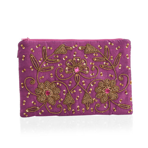 New Season Hand Stitched Purple Satin Bag with Golden Sequins and Beads  (Size 22x15 Cm)