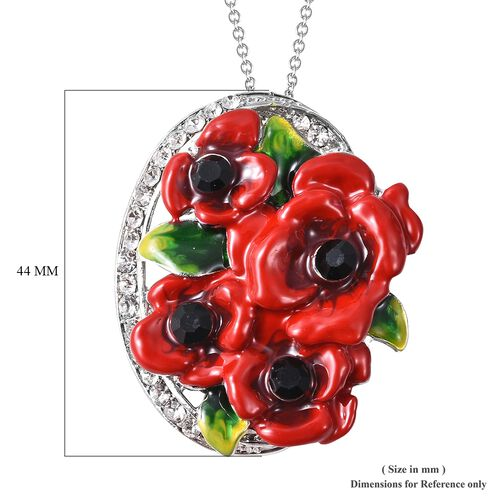 TJC Poppy Design Black and White Austrian Crystal (Rnd) Poppy Flowers Pendant with Chain (Size 20) in Stainless Steel