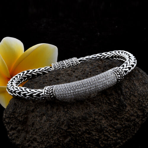Bali Legacy Collection Natural Cambodian White Zircon (Rnd) Sterling Silver Tulang Naga Bracelet (Size 8) 6.750 Ct, Silver wt 39.24 Gms.