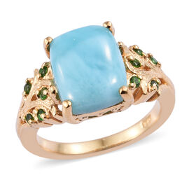 Larimar (Cush 11x9 mm), Russian Diopside Ring in 14K Gold Overlay Sterling Silver 4.500 Ct.