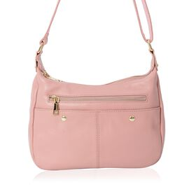 Close Out Deal- Soft Soft100% Genuine Leather Pink Colour Multi Pocket Crossbody Bag with Adjustable