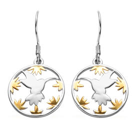 Hummingbird Floral Earrings in Platinum and Yellow Gold Overlay Sterling Silver