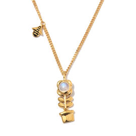 Rainbow Moonstone (Rnd) Plant Pendant With Chain in 14K Gold Overlay Sterling Silver 1.000 Ct, Silver wt 9.03 Gms.