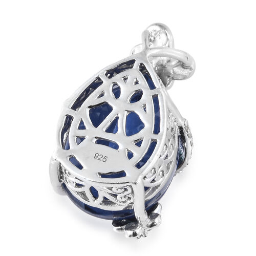 Ceylon Colour Quartz (Pear 17.70 Ct), Natural White Cambodian Zircon Butterfly Pendant in Platinum Overlay Sterling Silver 18.000 Ct