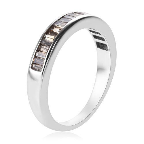 9K White Gold Natural Champagne Diamond (Bgt) Half Eternity Band Ring 0.500 Ct.