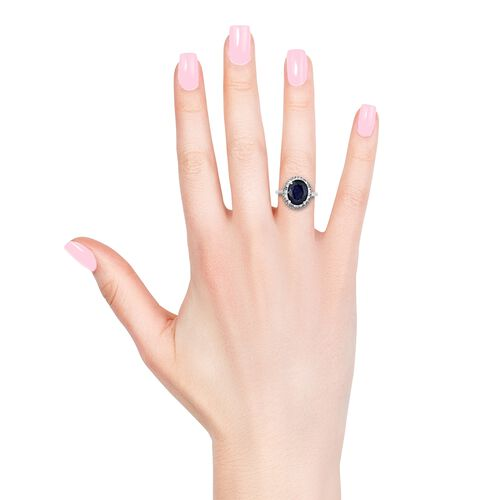 Masoala Sapphire (Ovl 4.75 Ct), Diamond (Bgt 0.250 Ct) Ring in Platinum Overlay Sterling Silver 5.000 Ct.