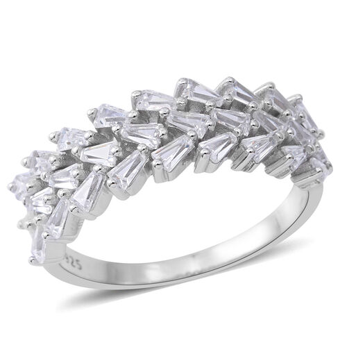 ELANZA Simulated White Diamond (Bgt) Ring in Rhodium Plated Sterling Silver