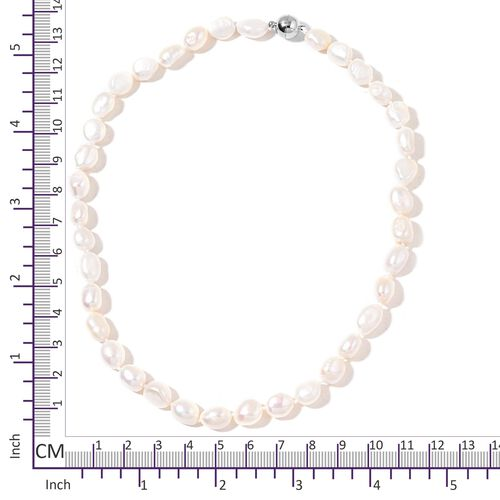 Fresh Water White Pearl Necklace (Size 20) with Magnetic Clasp Lock in Rhodium Plated Sterling Silver