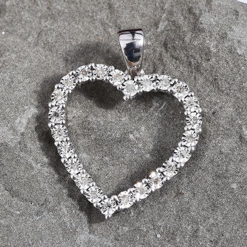 GP Diamond (Rnd), Blue Sapphire Heart Pendant in Platinum Overlay Sterling Silver 0.120 Ct