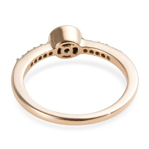 9K Yellow Gold Blue Diamond (Rnd), White Diamond (I1/G-H) Ring 0.50 Ct.