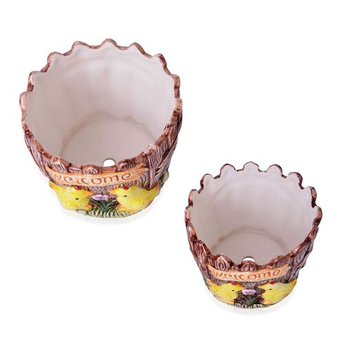 Home Decor - Set of 2 - Ceramic Chickens Flower Pot (Large Size 12.5x12.5 Cm) and (Small Size 10x10 Cm)