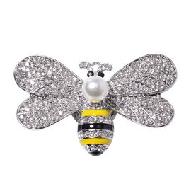 Simulated Pearl,Black and White Austrian Crystal Honey Bee Brooch with Enameled