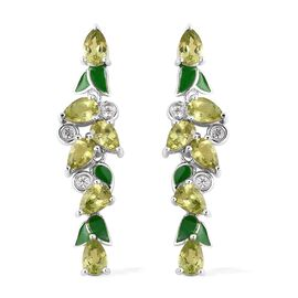 Hebei Peridot (Pear), Natural White Cambodian Zircon Enameled Earrings (with Push Back) in Rhodium O
