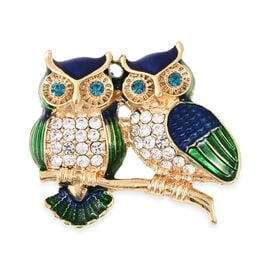 Blue and White Austrian Crystal Enamelled Owl Brooch in Gold Tone