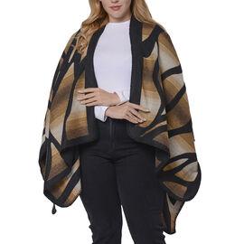 Brown and Black Colour Raised Grain Pattern Blanket Kimono (Size 133x70 Cm)