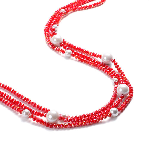 White Shell Pearl and Simulated Red Topaz 3-Row Necklace (Size 32 with 3 inch Extender) in Silver Tone