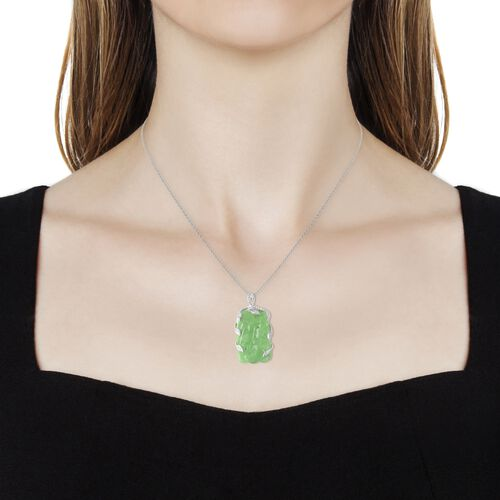 Carved Green Jade and Natural White Cambodian Zircon Chinese Eagle Pendant with Chain (Size 18) in Rhodium Overlay Sterling Silver 23.76 Ct, Silver wt 5.98 Gms