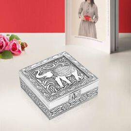 3D Embossed Collection Handcrafted Elephant Oxidised Jewellery Box (Size 12.7x12.7 Cm) with Wine Red