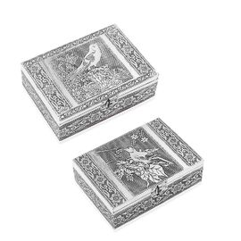 Set of 2 - Bird Embossed Jewellery Storage Box with Blue Velvet Lining (Size 17.7x12.7x5.08 Cm)