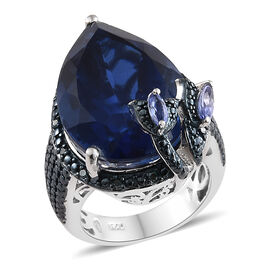 Ceylon Colour Quartz (Pear 16.75 Ct),Tanzanite and Blue Diamond Ring in Platinum Overlay Sterling Si
